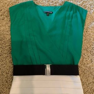 Express Green and Cream Party Dress